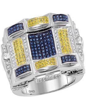 10KT WHITE GOLD BLUE YELLOW COLOR ENHANCED DIAMOND CHECKERED SQUARE CLUSTER RING 7/8 CTTW