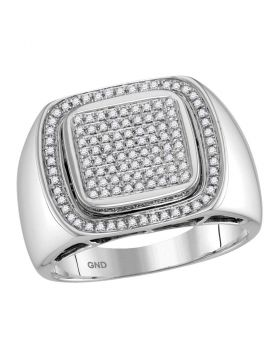 10KT WHITE GOLD ROUND DIAMOND ARCHED CONCAVE SQUARE CLUSTER RING 1/2 CTTW