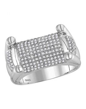 10KT WHITE GOLD ROUND DIAMOND ROUNDED SURFACE STUDDED CLUSTER RING 7/8 CTTW