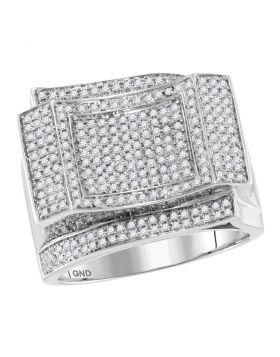 10KT WHITE GOLD ROUND DIAMOND SQUARE CLUSTER CONTOURED RING 7/8 CTTW