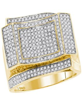 10KT YELLOW GOLD ROUND DIAMOND SQUARE CLUSTER CONTOURED RING 7/8 CTTW