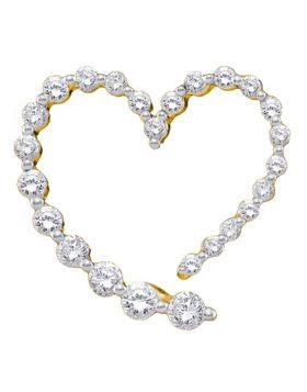 14kt Yellow Gold Womens Round Diamond Graduated Heart Journey Pendant 1/2 Cttw
