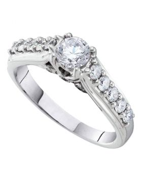 10kt White Gold Womens Round Diamond Solitaire Bridal Wedding Engagement Ring 1-1/2 Cttw