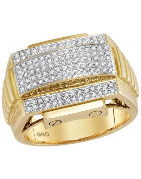 10KT YELLOW GOLD ROUND DIAMOND ARCHED RIBBED SIDES CLUSTER RING 1/2 CTTW