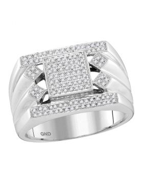10KT WHITE GOLD ROUND DIAMOND SQUARE CENTER CLUSTER RING 3/8 CTTW