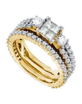 14kt Yellow Gold Womens Princess Diamond Cluster 3-Piece Bridal Wedding Engagement Ring Band Set 2.00 Cttw