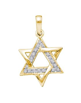14k Yellow Gold Round Diamond Star Magen David Jewish 6-point Pendant 1/10 Cttw