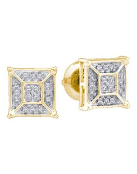 10kt Yellow Gold Womens Round Diamond Square Geomteric Cluster Earrings 1/10 Cttw