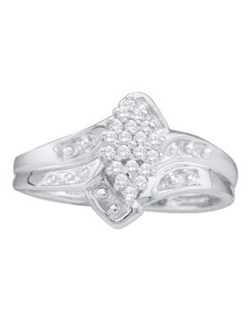 14kt White Gold Womens Round Prong-set Diamond Oval Cluster Ring 1/8 Cttw