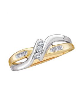 14kt Yellow Two-tone Gold Womens Round Diamond 3-stone Promise Bridal Ring 1/6 Cttw