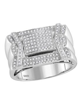 10KT WHITE GOLD ROUND DIAMOND INDENTED SQUARE CLUSTER RING 1/2 CTTW