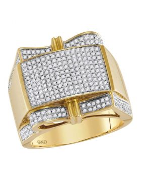 10KT YELLOW GOLD ROUND DIAMOND RECTANGLE CLUSTER RING 1.00 CTTW