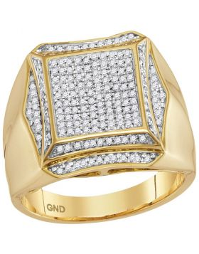 10KT YELLOW GOLD ROUND PRONG-SET DIAMOND SQUARE CLUSTER RING 1/2 CTTW