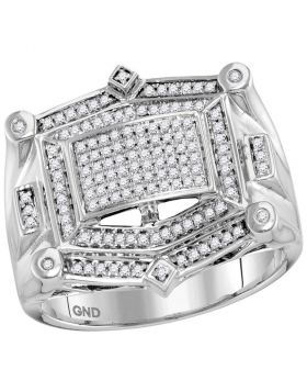 10KT WHITE GOLD ROUND DIAMOND RECTANGLE CLUSTER STUDDED RING 1/2 CTTW