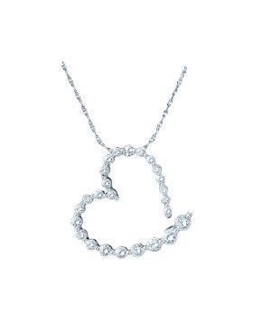 14kt White Gold Womens Round Diamond Graduated Heart Outline Journey Pendant 1/4 Cttw
