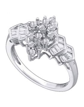 14kt White Gold Womens Round Diamond Oval Cluster Ring 1/4 Cttw