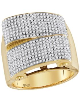 10KT YELLOW GOLD ROUND PAVE-SET DIAMOND RECTANGLE CLUSTER RING 1.00 CTTW