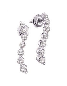 14k White Gold Round Diamond Womens Journey Love Anniversary Screwback Stud Earrings 1/4 Cttw