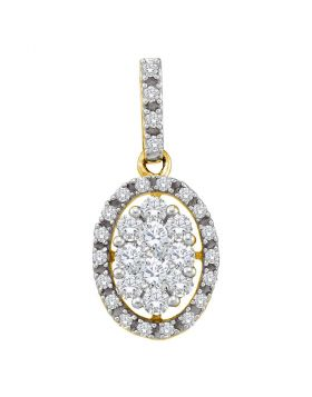 14kt Yellow Gold Womens Round Diamond Oval Cluster Pendant 1/2 Cttw