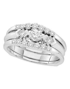 14kt White Gold Womens Round Diamond 3-Stone Bridal Wedding Engagement Ring Band Set 3/4 Cttw
