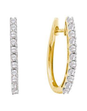 14kt Yellow Gold Womens Round Diamond Single Row Hoop Earrings 1.00 Cttw