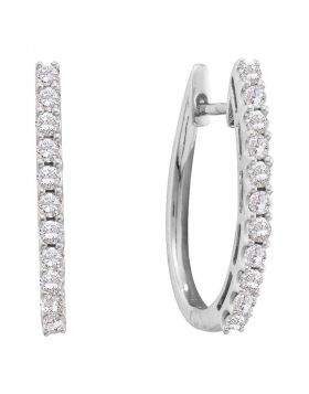 14kt White Gold Womens Round Diamond Single Row Hoop Earrings 1.00 Cttw