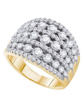 14k Yellow Gold Womens Round Pave-set Diamond Wide Fashion Band Ring 3.00 Cttw