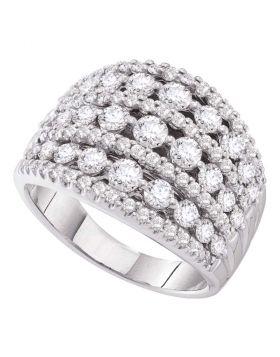 14kt White Gold Womens Round Diamond Symmetrical Fashion Band Ring 2.00 Cttw