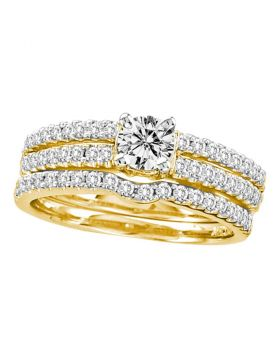 14kt Yellow Gold Womens Round Diamond 3-Piece Bridal Wedding Engagement Ring Band Set 1.00 Cttw