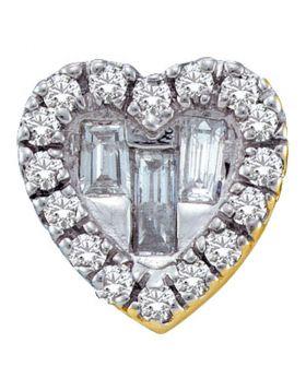 14kt Yellow Gold Womens Baguette Diamond Heart Pendant 1/8 Cttw