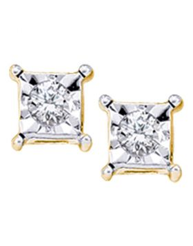10kt Yellow Gold Womens Round Diamond Solitaire Square Stud Earrings 1/20 Cttw