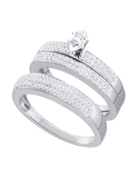 10kt White Gold His & Hers Marquise Diamond Solitaire Matching Bridal Wedding Ring Band Set 1/2 Cttw
