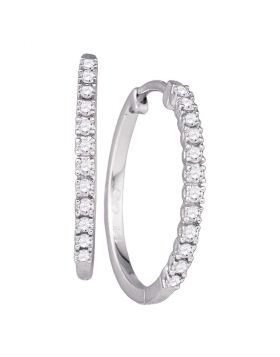 10kt White Gold Womens Round Diamond Slender Single Row Hoop Earrings 1/4 Cttw