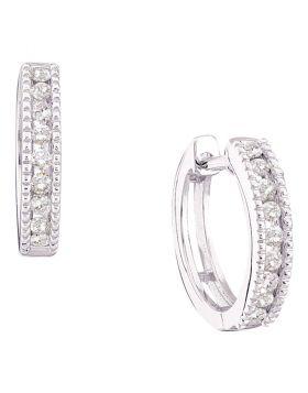 10kt White Gold Womens Round Channel-set Diamond Milgrain Hoop Earrings 1/4 Cttw