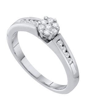 10kt White Gold Womens Round Diamond Flower Cluster Ring 1/4 Cttw