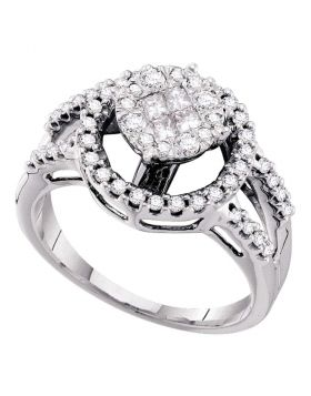 14kt White Gold Womens Princess Round Diamond Soleil Cluster Bridal Wedding Engagement Ring 5/8 Cttw