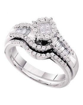 14kt White Gold Womens Princess Diamond Bridal Wedding Engagement Ring Band Set 5/8 Cttw