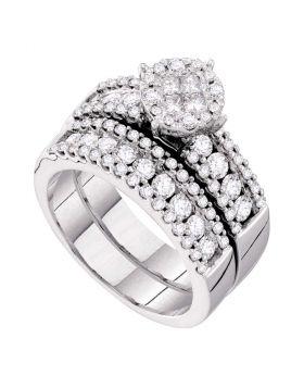 14kt White Gold Womens Princess Diamond Soleil Bridal Wedding Engagement Ring Band Set 1-3/4 Cttw