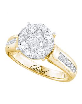 14kt Yellow Gold Womens Princess Round Diamond Soleil Cluster Bridal Wedding Engagement Ring 1.00 Cttw