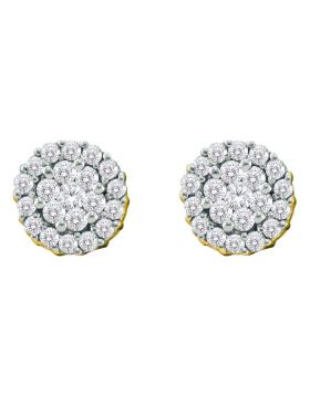 14kt Yellow Gold Womens Round Diamond Flower Cluster Screwback Earrings 3/4 Cttw