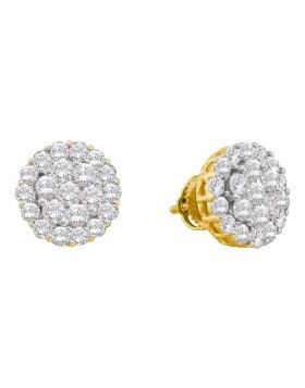 14kt Yellow Gold Womens Round Diamond Flower Cluster Screwback Earrings 2.00 Cttw