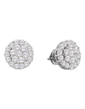 14kt White Gold Womens Round Diamond Cluster Screwback Stud Earrings 2.00 Cttw
