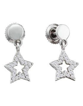 10kt White Gold Womens Round Diamond Star Dangle Screwback Earrings 1/5 Cttw