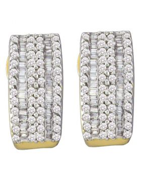 14kt Yellow Gold Womens Round Baguette Diamond Vertical Stripe Hoop Earrings 7/8 Cttw
