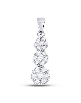 14kt White Gold Womens Round Diamond Triple Flower Cluster Pendant 3/4 Cttw