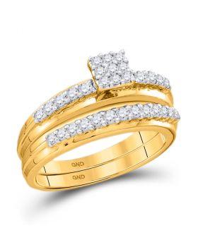 14k White Gold Womens Round Diamond Cluster Bridal Wedding Engagement Ring Band Set 1/2 Cttw