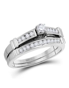 14kt White Gold Womens Princess Diamond Bridal Wedding Engagement Ring Band Set 1/3 Cttw
