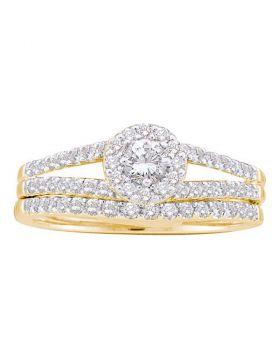14kt Yellow Gold Womens Round Diamond Split-shank Bridal Wedding Engagement Ring Band Set 5/8 Cttw