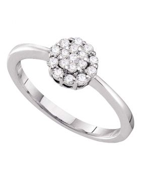 14kt White Gold Womens Round Diamond Circle Frame Flower Cluster Ring 1/4 Cttw