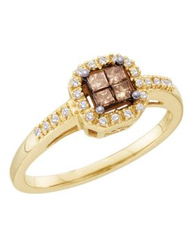 14kt Yellow Gold Womens Princess Cognac-brown Color Enhanced Diamond Cluster Ring 1/4 Cttw